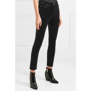 RE/DONE Black Velvet High Waist Ankle Crop Jeans